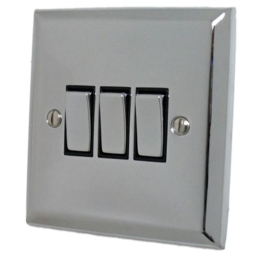 G&H SC303 Spectrum Plate Polished Chrome 3 Gang 1 or 2 Way Rocker Light Switch